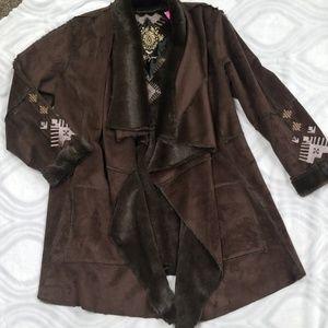 Johnny Was Biya brown jacket XL